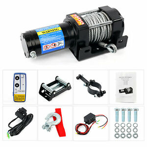 3500lbs Remote Electric Steel Cable Winch Kit 12v Atv Tow Boat Truck Trailer
