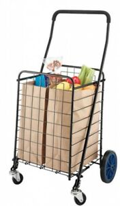 Rolling Shopping Cart Heavy Duty Wire Laundry Storage Front Swivel Wheels Black