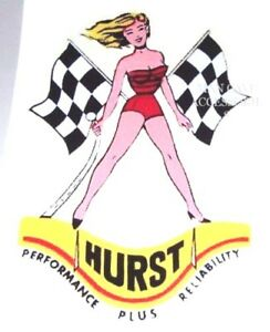 Nostalgic Hurst Performance Plus Reliability Pinup Girl Vinyl Decal Sticker 4155