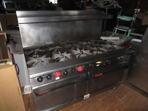 Vulcan Gas 10 Burner Range With Convection Oven And Regular Oven