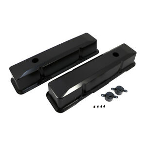 1958 86 Sbc Chevy Black Tall Aluminum Valve Covers Recessed Style 350 383 400
