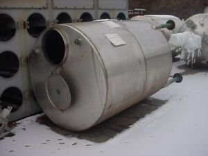 850 Gallon Sanitary Stainless Steel Tank Dished Bottom Closed Top