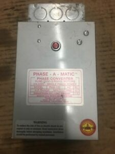 Pam 100 1 3 3 4 Hp 220 Vac Phase a matic Phase Converter