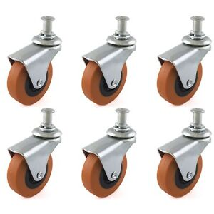 6 Pack Swivel Casters 2 5 Wheels Set For Creeper Service Cart Mount Stool Post