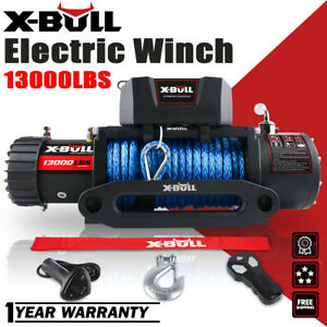 X bull 12v 13000lbs Electric Winch Synthetic Rope Jeep Towing Truck Off Road 4wd
