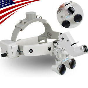 3 5x 280 380mm Dental Binocular Loupes Surgical Glass Magnifier Led Head Light