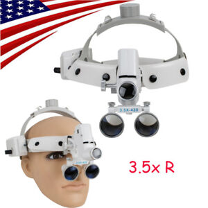3 5x Medical Surgical Binocular Dental Loupes Led Headlight Lamp Headband Stlye