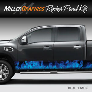 Flames Fire blue Rocker Panel Graphic Decal Wrap Kit Truck Suv 4 Sizes