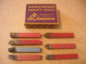 Armstrong 7 Lathe Carbide Tipped Tool Bit Cutters 1 2 X 1 2 X 3 1 2 U s a