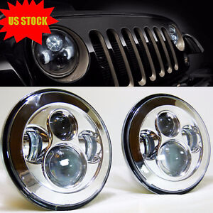 7 Round H4 Led Headlights For Jeep Wrangler Jk Jku Tj Cj Hummer H1