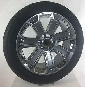 Chevy Tahoe Silverado Suburban 22 Gunmetal With Chrome Wheels Rims Tires