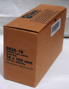 New Case Of 144 Corning 9826 16 Pyrex Glass 15ml Culture Tube W cap 16 X 125mm