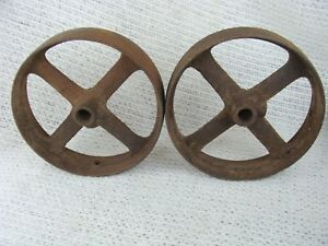 One Antique Vintage Cast Iron Hit Miss Engine Cart Truck Pulley Wheel 8