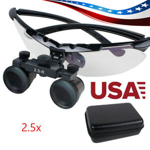 Convenient Dental Surgical Medical Binocular Loupes 2 5x Adjustable Glass Case