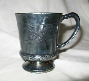 William Rogers Mfg Co Hartford Conn Etched Silver Plated Mug Cup