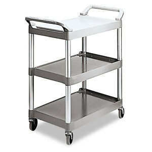 Rubbermaid Commercial Utility Cart With Wheels 3 Shelf Office food Service Cart