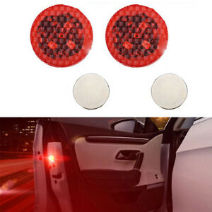 2x Car Led Door Safety Warning Light Anti Collision Wireless Vehicle Alarm Lamp