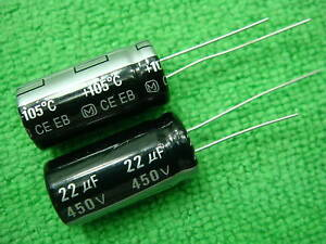 100pcs Panasonic 450v 22uf Electrolytic Capacitor 13x26mm