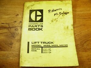 Cat Caterpillar M20 M25 Mc30 Lift Truck Parts Book 51v 93v 94v