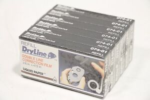 6 Pack Dryline Refill Double Line Correction Film 2 6 X 472 Liquid Paper 074 01