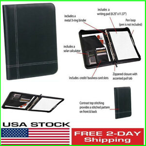 Black Leather Portfolio 3 Ring Binder Calculator Zippered Organizer Planner G 9