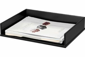 Victor Midnight Black Letter Desk Tray Wood Faux Leather Black vct11545
