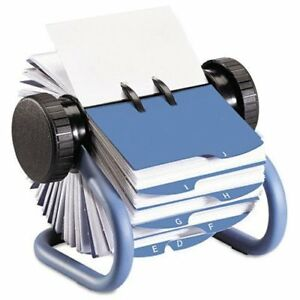 Rolodex Business Card File 400 Card 24 Printed A z Blue 63299