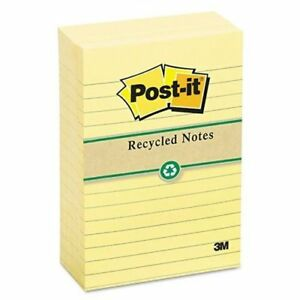 3m 660rpyw Recycled Notes 4 X 6 Lined Canary Yellow 12 100 sheet Pads pack