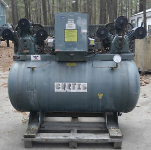 Curtis Rebuilt Twin 5 Hp Air Compressors On 200 Gallon Tank