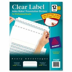 Avery Index Maker Clear Label Divider Blank 8 50 X 11 60 ave11429