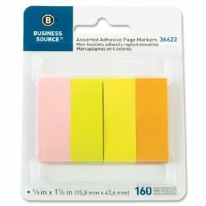 Business Source Page Marker Pad Removable Repositionable Self adhesive
