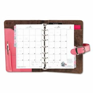 Day timer Pink Ribbon Starter Set Monthly 5 50 X 8 50 Leather Pink