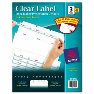 Avery Index Maker Clear Label Divider Blank 8 50 X 11 75 ave11445