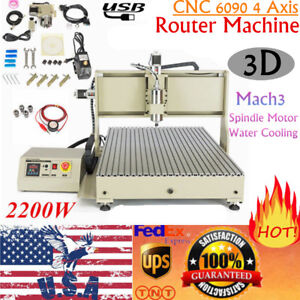 Usb 3d 6090 4axis Cnc Router Engraver Cutter Milling Cutting Machine Vfd 2 2kw