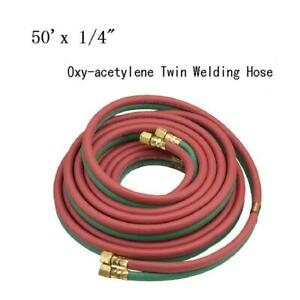 50 X 1 4 Protable Twin Torch Hose Oxygen Acetylene Welding Grade R Red