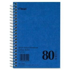 Mead Mid Tier Single Subject Notebook 80 Sheet College Ruled 5 X 7 1