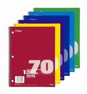 Mead 1 subject Wirebound Ruled Notebook 70 Sheet College Ruled 8 X 10 50