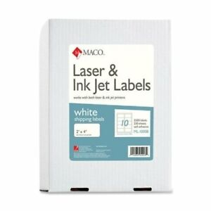 Maco Shipping Label 2 Width X 4 Length 2500 Box Rectangle Laser