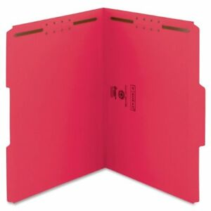 Smead 12740 Red Colored Fastener File Folders With Reinforced Tabs smd12740