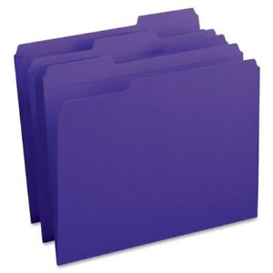 Smead 13034 Purple Colored File Folders With Reinforced Tab Letter smd13034