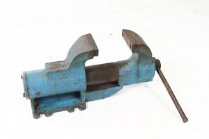 Old Vise With Small Anvil 3 5 32in Max Bm 3 5 32in
