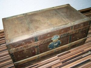 Beautiful Old Wooden Box With Metal Fittings Treasure Chest Rare Size