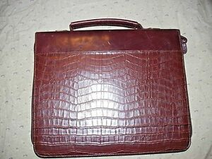 Vintage Buxton Zip Around 3 ring Binder Alligator Briefcase