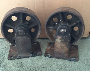 Vtg Factory Cart Casters Cast Iron Metal Industrial Wheels One Pair 5