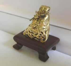Antique Chinese Silver Gilt Immortal Zhang Guolao Hat Badge Ornament With Stand