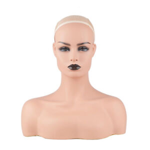New Realistic Mannequin Head Display Fiberglass Hat Glasses Mold Stand Wig C487b
