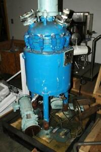 De Dietrich 10 Gallon Jacketed Glass Lined Tank Vessel Reactor W Mixer Agitator