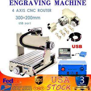 3020t 4axis Cnc Router Engraver Engraving Drilling Milling With Mach3 Controller