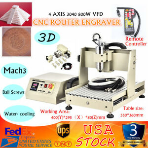 4 Axis 3040 Cnc Vfd Router Engraver Milling Drilling Usb Mach3 Controller 800w