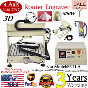 800w 4 Axis 3040 Cnc Router Engraver Engraving Drilling Machine Mach3 Ballscrew